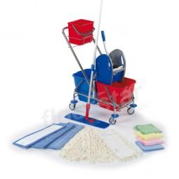 Cleaning Kit - verchromt mit Deichsel und Eimerkorb