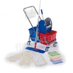 Cleaning Kit - verchromt mit Deichsel und Korb