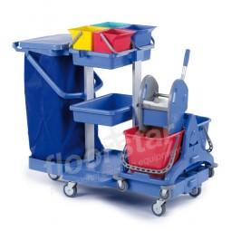 Reinigungswagen 1 Multi - Kunststoff mit aufgesetztem Doppelfahrwagen (ohne Sack)