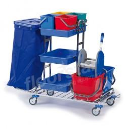 Reinigungswagen 1 Quattro - verchromt (ohne Deckel und Sack)