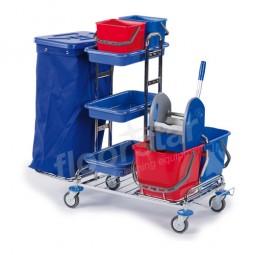 Reinigungswagen 1 - verchromt (ohne Deckel und Sack)