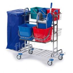 Reinigungswagen 2 Top - verchromt (ohne Deckel und Sack)