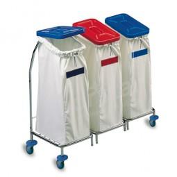 Wäschewagen 3fach - verchromt (ohne Deckel und Säcke)